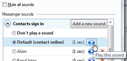 Change contact sign in sound settings for Windows Live Messenger
