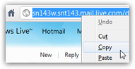 Copy the Hotmail inbox URL to use as homepage in Chrome