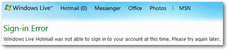 Hotmail Sign-in error message on login screen