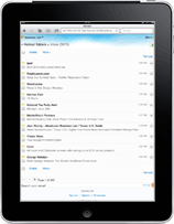Hotmail inbox in iPad web browser