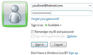 Login to Windows Live Messenger with your Hotmail account
