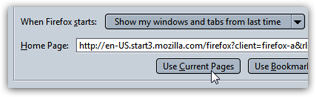 Mozilla Firefox homepage settings in the Options dialog