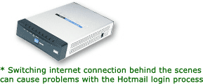 Multiple internet connections will create session timeouts for Hotmail