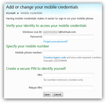 Setup and add mobile access credentials for your Hotmail account