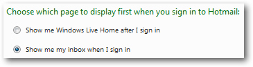 Sign in to inbox instead of Windows Live home screen