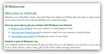 Welcome to Hotmail email message from the Windows Live team to new sign up's