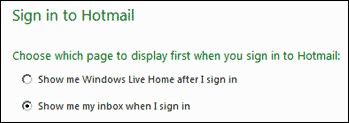 Windows Live Hotmail Home screen options