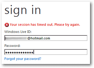 Windows Live Hotmail sign in session timed out error message