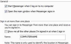 Windows Live Messenger Sign in options