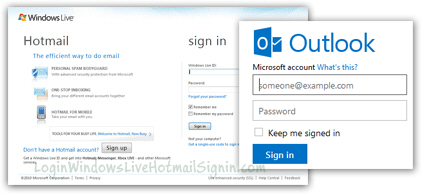Hotmail sign in page old and new sign-up form
