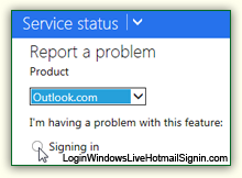 Report Hotmail sign in problems to Microsoft
